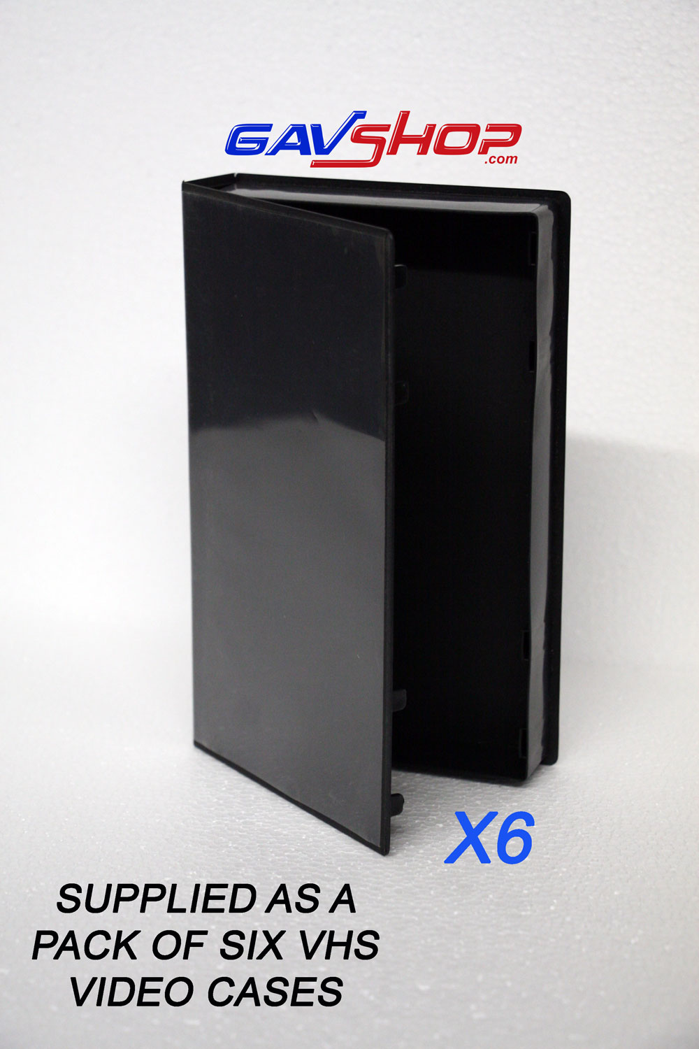 6 X Standard Black Vhs Video Cases With Clear Inlay Sleeve