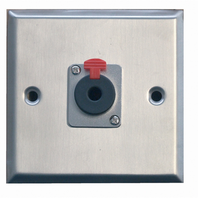 F267XF Silver Metal AV Wall Plate With 1x 6.35mm Stereo Jack Socket.