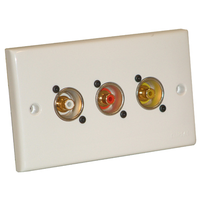 Outlet Plate Fitted With 3x Neutrik Phono Sockets WP-D-2G-3H (001)