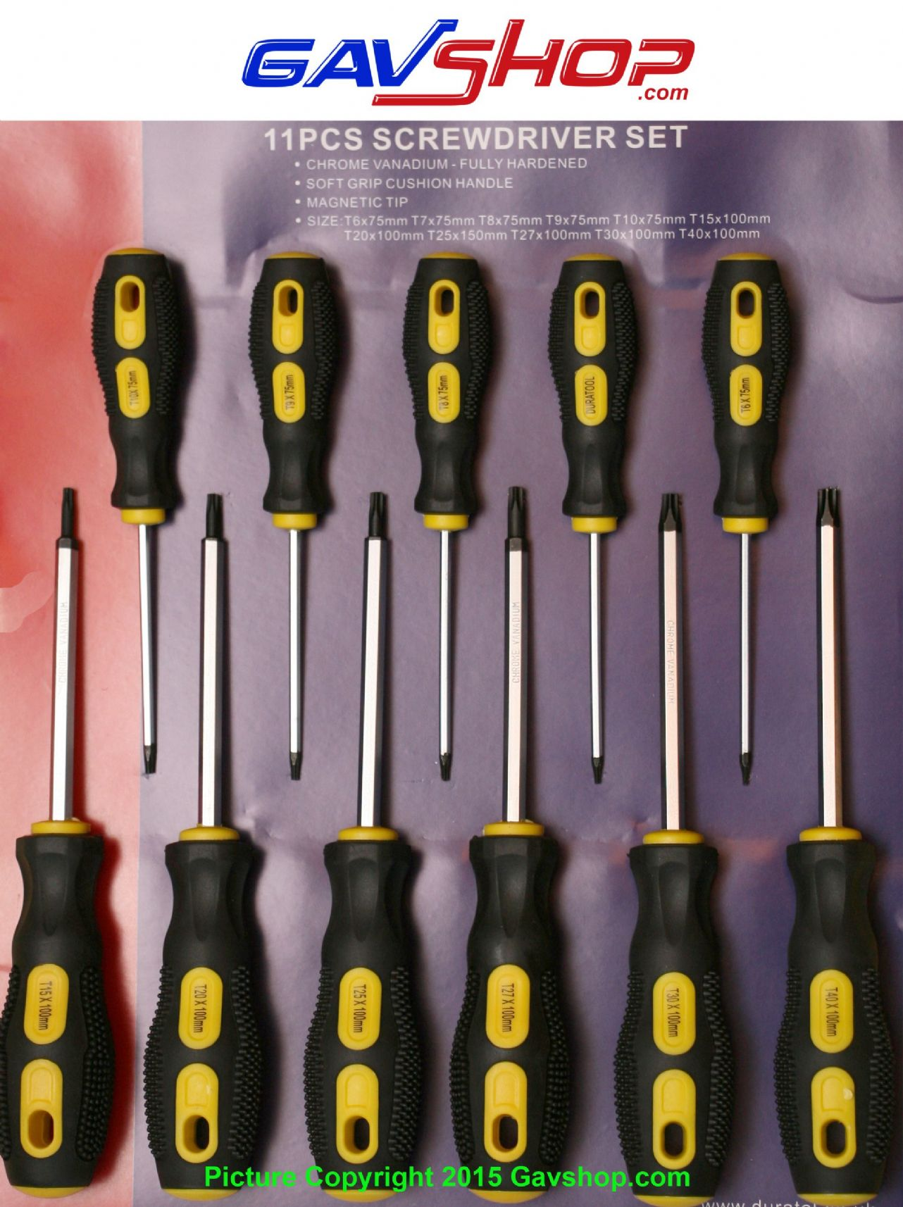 torx screwdriver set of 11 pieces t6 t7 t8 t9 t10 t15 t20 t25 t27 t30 and t40. Black Bedroom Furniture Sets. Home Design Ideas
