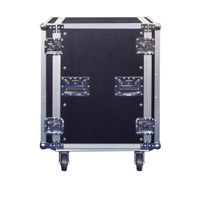 Black High Quality 16U Rack Case On Wheels With Removable front and rear