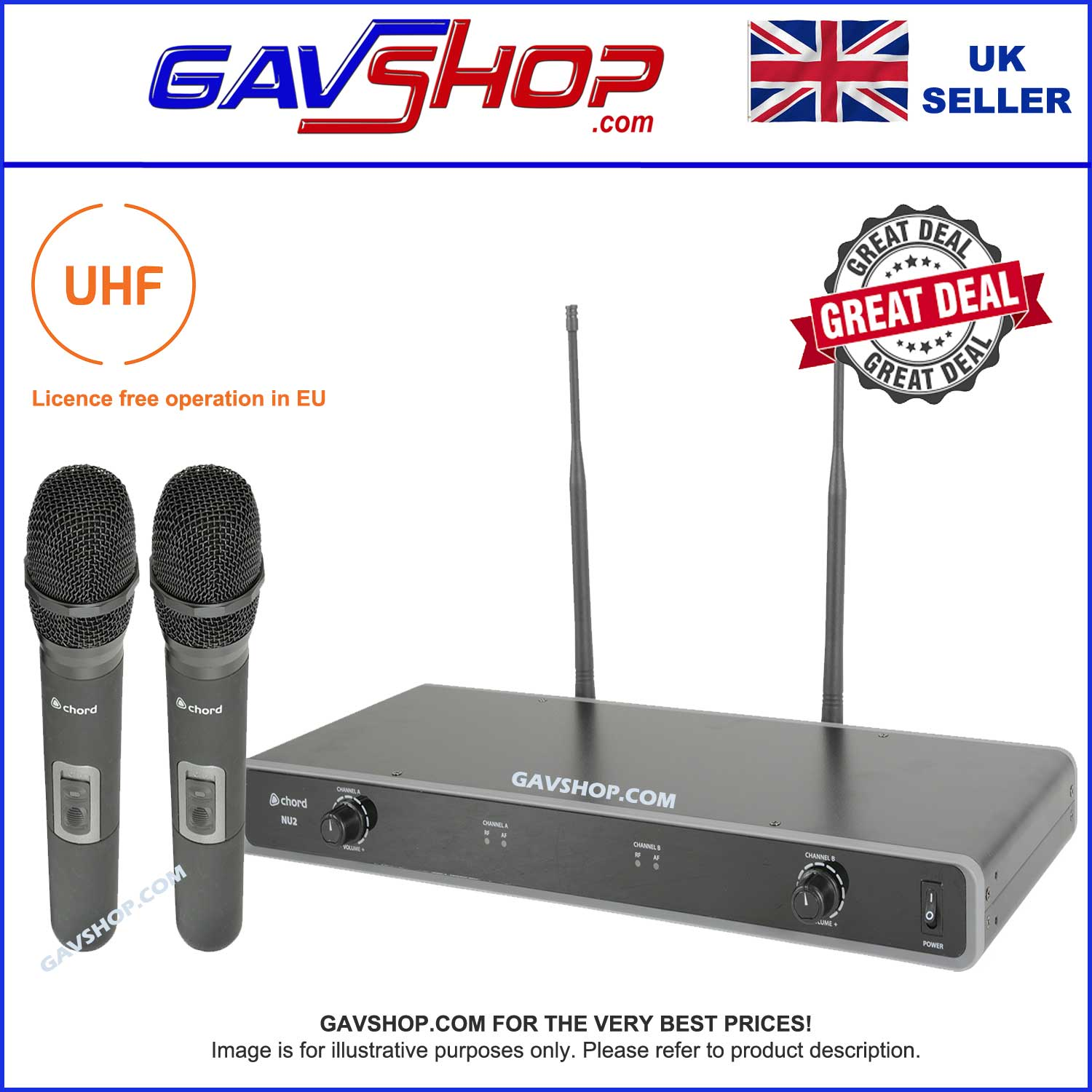 Chord NU2 Dual UHF Wireless Handheld Microphone System