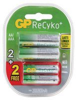 GP Batteries Pack Of 2 ReCyko AA batteries 850 mAh with 2 free AAA Rechargeable Batteries