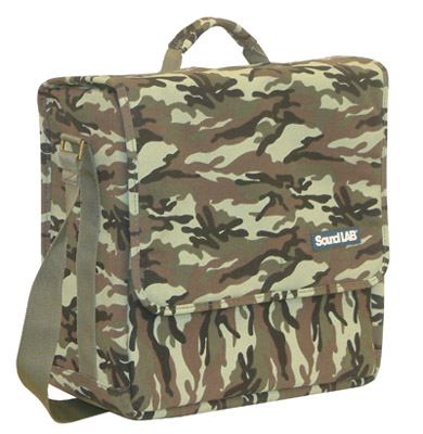 Khaki Fabric 30 LP/Album Bag With Shoulder Strap, Clip Fastener. G013KH