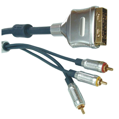 T113LH Black 1.5m Professional Multicore Screened Scart Plug To 3 Phono Plugs.