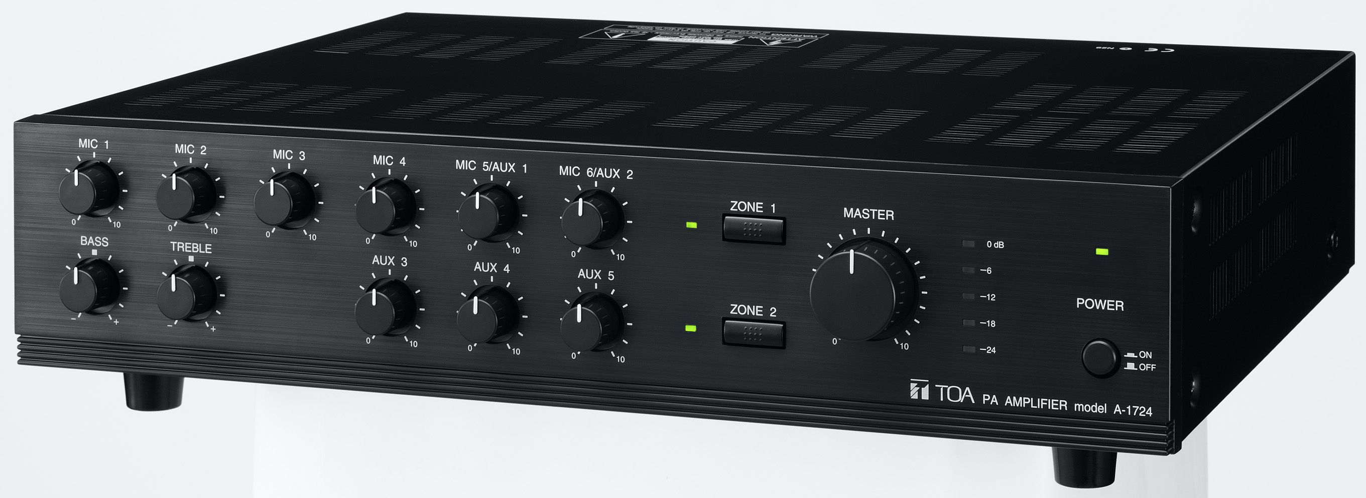 TOA A-1724 Two Zone Mixer Amplifiers 8 Inputs 100V Line or 8ohm